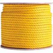 "BOEN Polypropylene 3-Strand Rope YR-38600 - 3/8"" x 600' - 13 Lb. - Yellow"