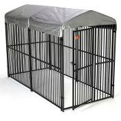 """Lucky Dog European Style Modular Dog Kennel With Cover 72""""H x 60""""W x 120""""L, Black"""