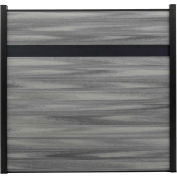 Estate 6'W x 6'H Oxford Grey Aluminum/Composite Horizontal Fence Starter Section- IN GROUND