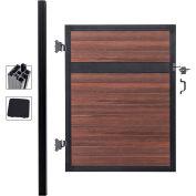 Estate 4'W x 6'H Black Rose Aluminum/Composite Adjustable Single Fence Gate Kit - IN GROUND ONLY