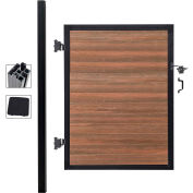 Full Composite 4'W x 6'H King Cedar Aluminum/Composite Adjustable Fence Gate Kit - IN GROUND ONLY