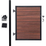 Full Composite 4'W x 6'H Black Rose Aluminum/Composite Adjustable Single Gate Kit-IN GROUND ONLY