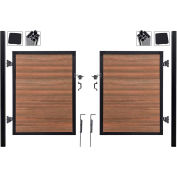 Full Composite 10'Wx4'H King Cedar Aluminum/Composite Adj Fence Double Gate Kit - IN GROUND ONLY