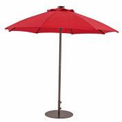 TrueShade® 9' Automatic Market Umbrella Sunbrella® Fabric and Lights - Jockey Red