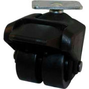 "X-CASTER 2"" Display Caster 1-1/4""x2"" Top Plate Brake Hard Rubber"