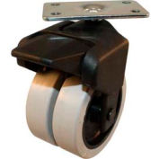 """X-CASTER 3"""" Display Caster 1-3/4""""x3"""" Top Plate Brake Poly on Poly Core"""