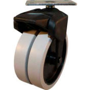 """X-CASTER 4"""" Display Caster 1-3/4""""x3"""" Top Plate Brake Poly on Poly Core"""