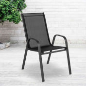 Flash Furniture Outdoor Stack Chair with Flex Comfort Material and Metal Frame