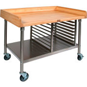 """John Boos 72""""W x 30""""D Maple Top Mobile Prep Table with Stainless Steel Legs, Shelf and Pan Rack"""