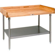 """John Boos DNS11  96""""W x 30""""D Maple Top Table with Galvanized Legs and Shelf"""