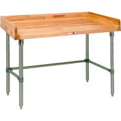 """John Boos DSB05  120""""W x 24""""D Maple Top Table with Stainless Steel Legs and Bracing"""