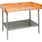 """John Boos DSS14  96""""W x 36""""D Maple Top Table with Stainless Steel Legs and Shelf"""