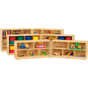 "Jonti-Craft® 10 Tray  Low Mobile Fold-N-Lock w/o Tray, 96""W x 18""D x 29-1/2""H, Birch Plywood"