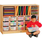 """Sectional E-Z Glide Tray Mobile Unit With Colored Trays, 48""""W x 15""""D x 35-1/2""""H, Birch Plywood"""