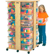 """Jonti-Craft® 32 Cubbie Mobile Tower Without Tubs, 27""""W x 27""""D x 53-3/4""""H, Birch Plywood"""