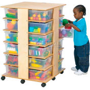 """Jonti-Craft® 24 Cubbie Mobile Tower With Clear Tubs, 27""""W x 27""""D x 40-1/2""""H, Birch Plywood"""