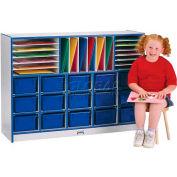 "Jonti-Craft® Sectional Mobile Cubbie w/Trays, 48""W x 15""D x 35-1/2""H, Gray Laminate, Green Edge"