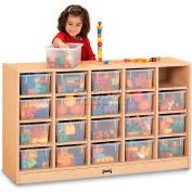 "Jonti-Craft® 20 Tray Mobile Cubbie w/Clear Trays, 48""Wx15""Dx29-1/2""H, Maple Laminate"