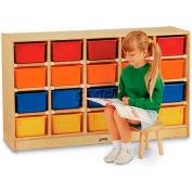 """Jonti-Craft® 20 Tray Mobile Cubbie w/Colored Trays, 48""""W x 15""""D x 29-1/2""""H, Birch Plywood"""