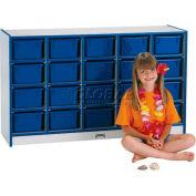 "Jonti-Craft® 20 Tray Mobile Cubbie w/Trays, 48""W x 15""D x 29-1/2""H, Gray Laminate, Navy Edge"