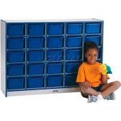 "Jonti-Craft® 25 Tray Mobile Cubbie w/o Trays,48""W x 15""D x 35-1/2""H, Gray Laminate, Purple Edge"