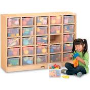 "Jonti-Craft® 25 Tray Mobile Cubbie w/Clear Trays, 48""Wx15""Dx35-1/2""H, Maple Laminate"