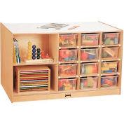 """Jonti-Craft® Mobile Storage Island, Twin w/Clear Trays, 48""""W x 29""""D x 29-1/2""""H, Birch Plywood"""