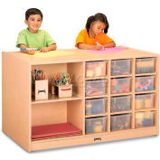 "Jonti-Craft® Mobile Storage Island, Twin w/Clear Trays, 48""W x 29""D x 29-1/2""H, Maple Laminate"