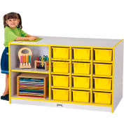 "Jonti-Craft® Mobile Storage Island w/Trays, 48""W x 29""D x 29-1/2""H, Gray Laminate, Blue Edge"
