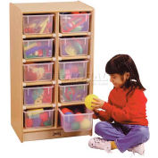 "Jonti-Craft® 10 Tray Mobile Cubbie w/Colored Trays, 20""W x 15""D x 35-1/2""H, Birch Plywood"