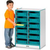 "Jonti-Craft® 12 Tray Mobile Cubbie w/o Paper-Trays, 24-1/2""x15""x35-1/2"",Gray Laminate,Navy Edge"