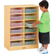 "Jonti-Craft® Mobile Cubbie w/12 Clear Paper-Trays, 24-1/2""W x 15""D x 35-1/2""H, Birch Plywood"