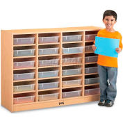 """Jonti-Craft® 24 Tray Mobile Cubbie Without Paper-Trays, 48""""W x 15""""D x 35-1/2""""H, Maple Laminate"""