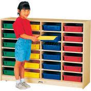 "Jonti-Craft® 24 Tray Mobile Cubbie w/Clear Paper-Trays, 48""W x 15""D x 35-1/2""H, Birch Plywood"
