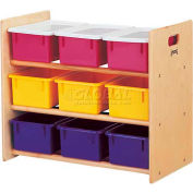 "Jonti-Craft® 9 Tray Storage Rack With Colored Trays, 28-1/2""Wx15""Dx24""H, Birch Plywood"