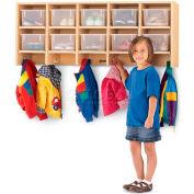 """Jonti-Craft® Wall Mount Coat Locker w/Clear Trays, 48""""W x 15-1/2""""D x 20""""H, Maple Laminate"""