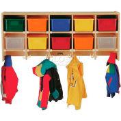 "Jonti-Craft® Wall Mount Compartment Coat Locker, w/Colored Trays,48""x15-1/2""x20"", Birch Plywood"