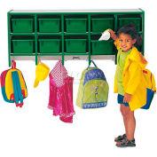 """Jonti-Craft® Wall Mount Coat Locker w/Trays, 48""""W x 15-1/2""""D x 20""""H, Gray Laminate, Green Edge"""