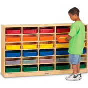 "Jonti-Craft® 20 Tray Mobile Cubbie w/Colored Paper-Trays, 60""W x 15""D x 35-1/2""H, Birch Plywood"