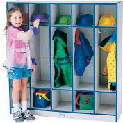 """Jonti-Craft® Kid Coat Locker, 5 Wide, 48""""W x 15""""D x 50-1/2""""H, Gray Laminate, Black Edge"""