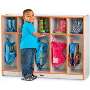 "Jonti-Craft® Toddler Coat Locker, 5 Wide, 48""W x 15""D x 35""H, Gray Laminate, Purple Edge"
