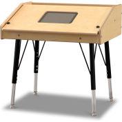Jonti-Craft® Adjustable Height Single Tablet Wooden Top Table - Stationary