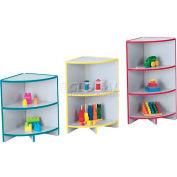 "Jonti-Craft® KYDZCURVES®, Corner Storage,16""W x 16""D x 29-1/2""H,Gray Laminate, Red Edge"
