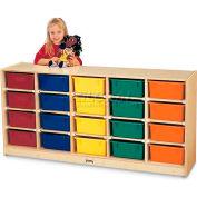 "Jonti-Craft® 20 Tub Mobile Cubbie w/Colored Tubs, 60""W x 15""D x 29-1/2""H, Birch Plywood"