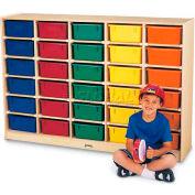 "Jonti-Craft® 30 Tub Mobile Cubbie w/Colored Tubs, 60""W x 15""D x 42""H, Birch Plywood"