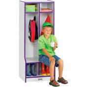 """Jonti-Craft® Kid Seat Locker, 2 Wide, 20""""W x 17-1/2""""D x 50-1/2""""H, Gray Laminate, Black Edge"""