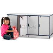 "Jonti-Craft® Lockable Lockers, Single Stack, 48-1/2""Wx15""Dx23-1/2""H, Gray Laminate, Blue Edge"