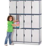 "Jonti-Craft® Lockable Lockers, Triple Stack, 48-1/2""Wx15""Dx67""H, Gray Laminate, Green Edge"
