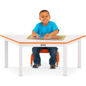 """Rainbow Accents® Multi-Purpose Trapezoid Table, 47""""W x 20-1/2""""L x 22""""H, Orange"""