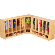 "Jonti-Craft® Toddler Corner Coat Locker w/Step w/o Tray, 24""W x 17-1/2""D x 35""H, Birch Plywood"